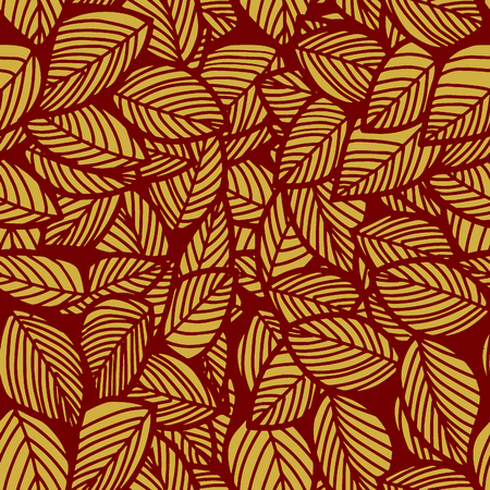 Leaf seamless vector floral pattern background.Vector  illustration Çizim