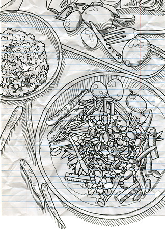 Hand Drawn Vector Illustration , Thai food on a  table background. View from above.workspace organization and order concept Stock Photo