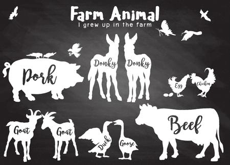 Vector Farm Animals Silhouettes Isolated ,Farm animals with text. Retro styled farm animals silhouettes collection ,Vector illustration Zdjęcie Seryjne