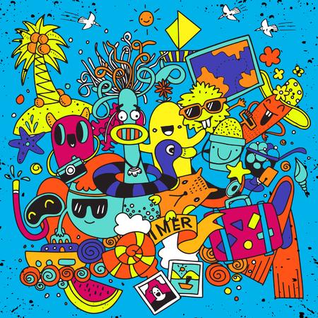 Hand drawn vector illustration set of summer elements.Hand drawing Doodle,cute monster Illustration