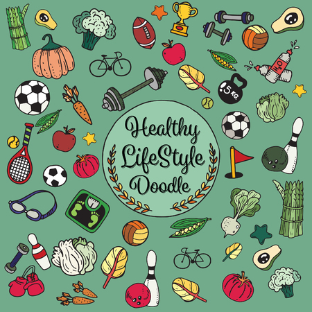 website header: Healthy lifestyle doodle. Design with thin line icons on theme fitness, nutrition and dieting. Vector illustration.