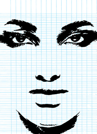 Abstract woman face. Fashion illustration,brush style