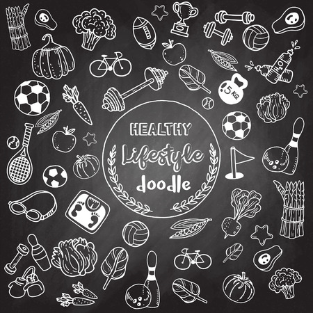 Healthy lifestyle doodle. Design with thin line icons on theme fitness, nutrition and dieting. Vector illustration Illustration