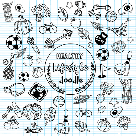 Healthy lifestyle doodle. Design with thin line icons on theme fitness, nutrition and dieting. Vector illustration Banco de Imagens - 83929854