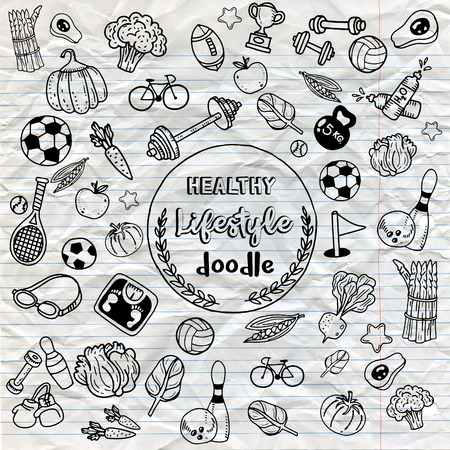 Healthy lifestyle doodle. Design with thin line icons on theme fitness, nutrition and dieting. Vector illustration.