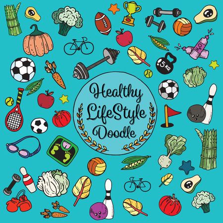 Healthy lifestyle doodle. Design with thin line icons on theme fitness, nutrition and dieting. Vector illustration Ilustração