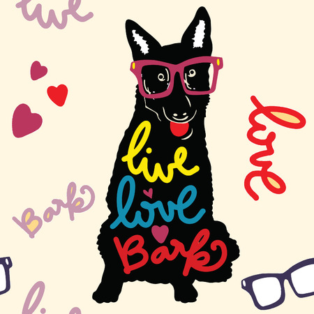 Vector illustration. Vintage typography poster with stylish dog  in sunglasses. live love bark lettering quote. Trendy hipster style