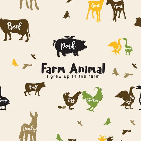 Vector de animales de granja siluetas aisladas, ilustración vectorial. Patrón sin costuras Foto de archivo - 83922853