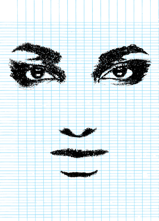 Abstract woman face. Fashion illustration,Dot Style