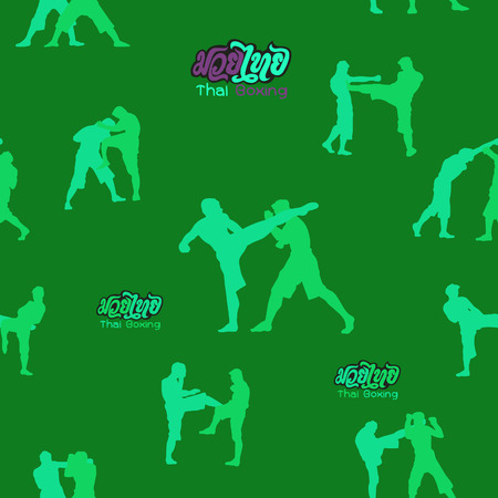 seamless background ,Thai boxing. Muay Thai martial art vector illustration collection.�Muay Thai (Popular Thai Boxing style) text, font, graphic vector. Muay Thai beautiful vector logo for gym or other