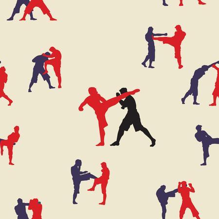 naadloze achtergrond, Thais boksen. Muay Thai krijgskunst vector illustratie collectie. Muay Thai (populaire Thaise in dozen doende stijl) tekst, doopvont, grafische vector. Muay Thai prachtige vector logo voor gym of andere Logo