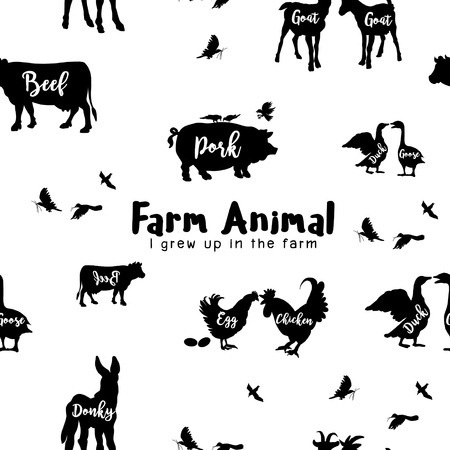 Vector Farm Animals Silhouettes Geïsoleerd, Vector illustration.Seamless pattern Stock Illustratie