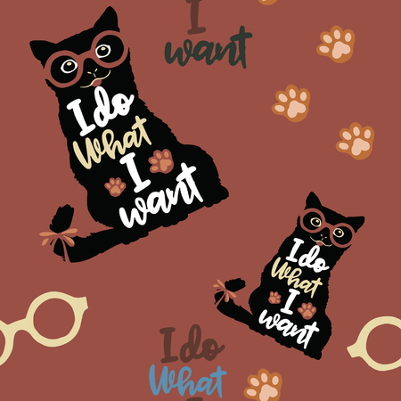 Vector illustration. Vintage typography poster with stylish Cat  in sunglasses. I do what I want lettering quote. Trendy hipster style Çizim