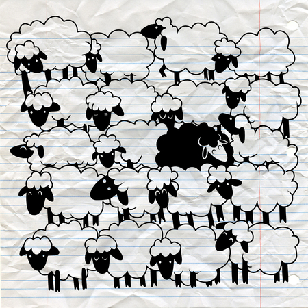 Black sheep amongst white sheep ,Single black sheep in white sheep group. dissimilar concept Illustration