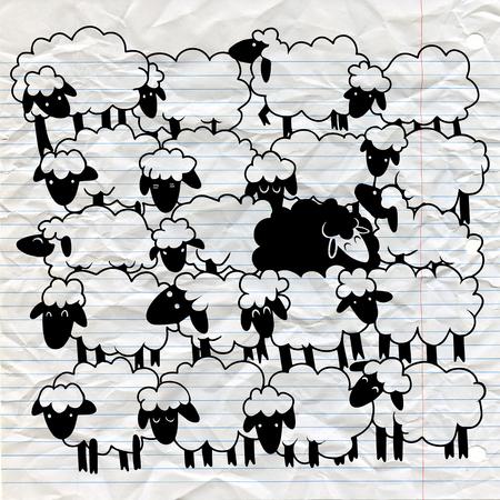 Zwart schaap onder witte schapen, enige zwarte schapen in witte schapengroep. ongelijk concept Stock Illustratie