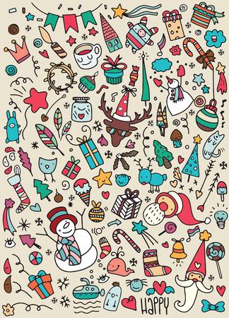 christmas tree illustration: Hand drawn Christmas icons set doodle