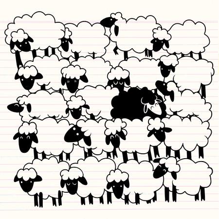 흰색 양들 사이에 검은 양 흰 양 그룹에 단일 검은 양. 다른 개념