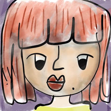 수채화 손으로 그린 예술 그림, 그리기 아이의 근접 촬영 일러스트