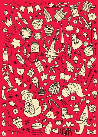 Hand drawn Christmas icons set doodle