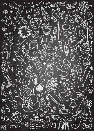 Hand drawn Christmas icons set doodle,  illustration Illusztráció