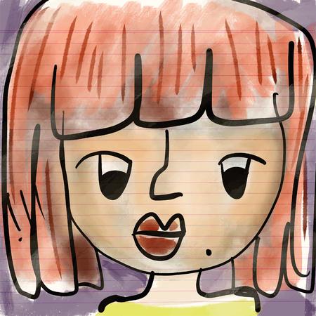 수채화 손으로 그린 아트 그림, 아이 드로잉, 그림의 근접 촬영.