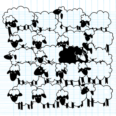 Black sheep amongst white sheep ,Single black sheep in white sheep group. dissimilar concept illustration.