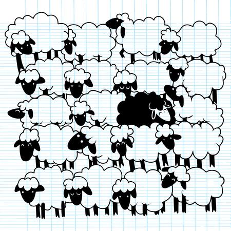 Black sheep amongst white sheep�,Single black sheep in white sheep group. dissimilar concept illustration. Illustration