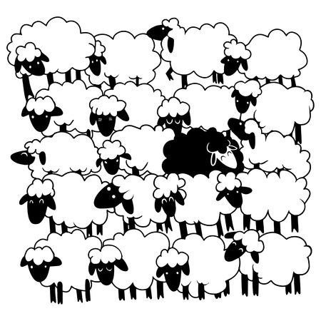 Black sheep amongst white sheep ,Single black sheep in white sheep group. dissimilar concept , Ilustração
