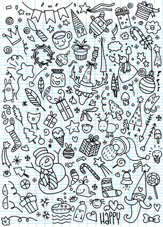 手描きクリスマス アイコン セット落書き、イラスト