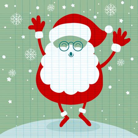 雪、サンタ クロース スタンドと笑顔のサンタ。クリスマス ホリデイ ・文字を漫画します。かわいいベクター イラストです。