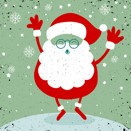 Santa in snow,Santa Claus stand and smile. Cartoon Christmas holiday character. Cute vector illustration.