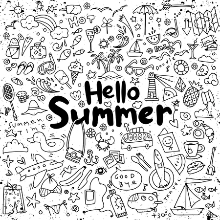 手描き夏要素のベクトル図を設定。手描きの落書き  イラスト・ベクター素材