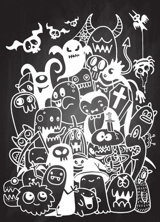 Vector illustratie van Cute hand-drawn Halloween doodles, Notebook Doodle ontwerpelementen op bekleed Sketchbook papier illustratie Stock Illustratie