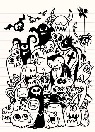 Vektor-Illustration der niedlichen handgezeichneten Halloween-Gekritzel, Notebook-Gekritzel Design-Elemente auf gezeichneten Skizzenbuch Papier Illustration Standard-Bild - 84116290