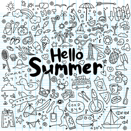 Hand drawn vector illustration set of summer elements.Hand drawing Doodle 向量圖像