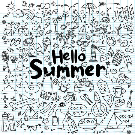 Hand drawn vector illustration set of summer elements.Hand drawing Doodle Illustration