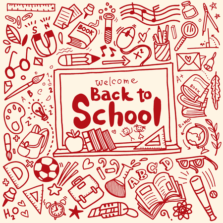 Welcome Back to School poster with doodles,Good for textile fabric design, wrapping paper and website wallpapers. Vector illustration. Stock Vector - 84280083