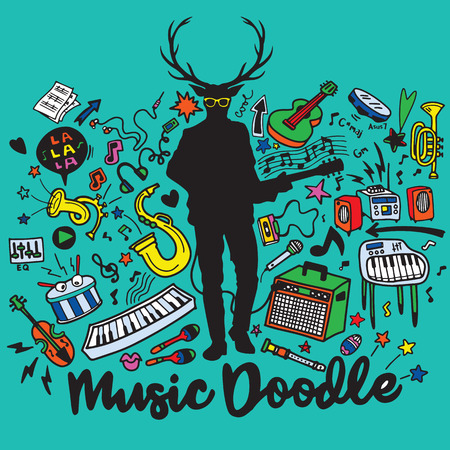 bass drum: Hipster deer with a guitar and cool eye glasses ,Abstract Music Background ,Collage with musical instruments.Hand drawing Doodle,vector illustration. Illustration