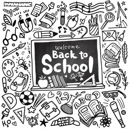 Welkom terug naar school-poster met doodles, goed voor textielontwerp, inpakpapier en website-achtergronden. Vector illustratie.