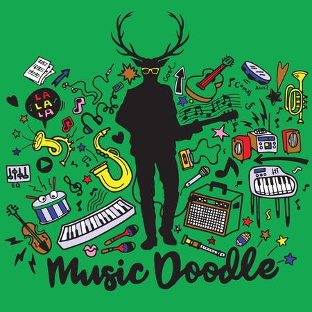 ギターとクールな眼鏡、抽象的な音楽の背景、流行に敏感な鹿は楽器のコラージュ。ベクトル図図面落書きを手します。  イラスト・ベクター素材