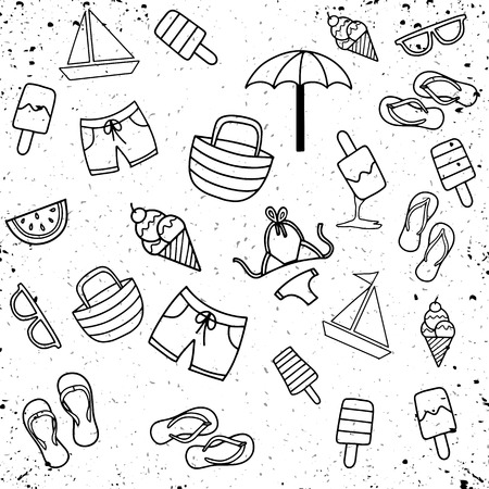 Summer beach hand drawn vector symbols and objects,Summer Doodles. Summer Icon Set.
