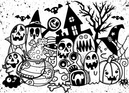 Vector Illustration Of Cute Hand-drawn Halloween Doodles Royalty ...