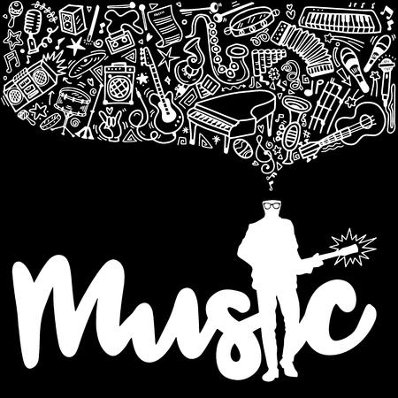 기타리스트, 추상 음악 배경, 악기와 콜라주. 손을 그리기 낙서, 벡터 일러스트 레이 션. 일러스트