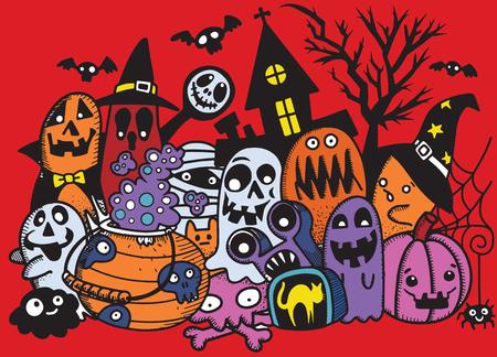 Vector illustration of Cute hand-drawn Halloween doodles, Notebook Doodle Design Elements on Lined Sketchbook Paper Illustration