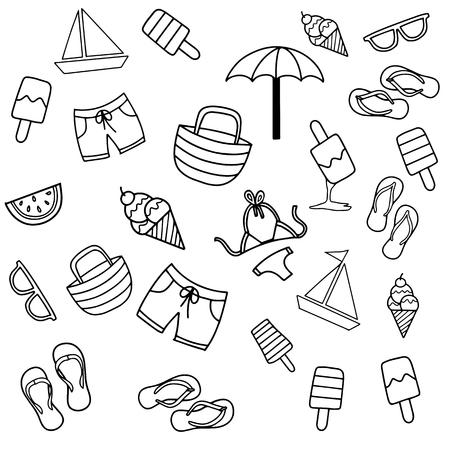 Zomer strand hand getekende vector symbolen en objecten, Zomer Doodles. Zomer Icon Set. Stockfoto - 84560528