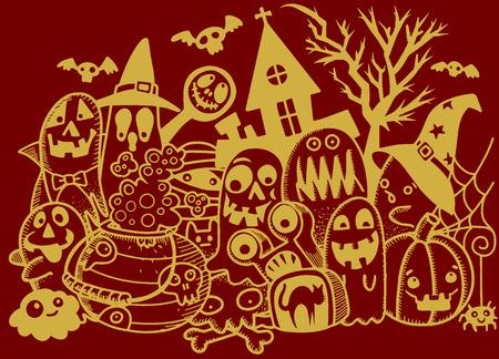 ghost house: Vector illustration of Cute hand-drawn Halloween doodles, Notebook Doodle Design Elements on Lined Sketchbook Paper Illustration