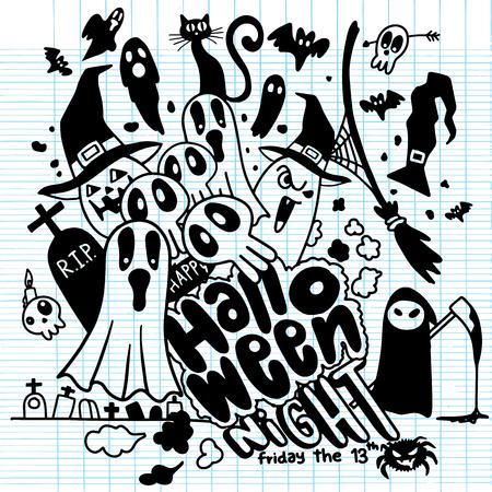 Vector illustration of Cute hand-drawn Halloween doodles Illustration