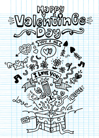 Simple hand drawn love doodles isolated on background valentines day set