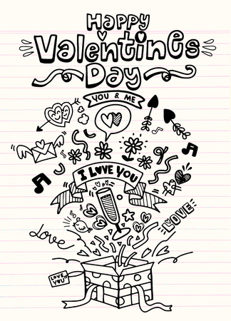 Simple hand drawn love doodles isolated on background
