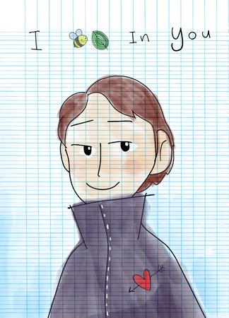 A handsome young man speaks encouragement. I believe in you ,doodle style, vector illustration Illustration